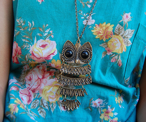 fashion, owl, and flowers image