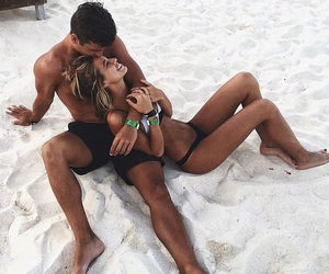 beach, couples, and kiss image