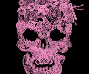 pink, skull, and tattoo image