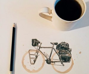 coffee, art, and bicycle image