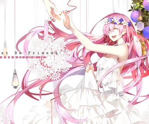 pink hair, vocaloid, and just be friends image