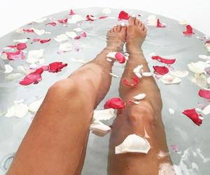 bath, flowers, and legs image