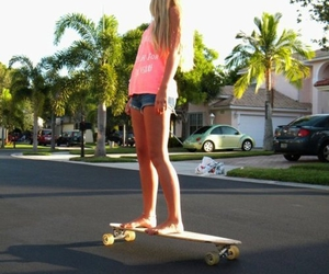 girl, longboard, and summer image