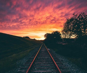 sunset and train image