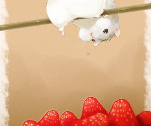 strawberry, art, and hamster image