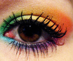 eyes, eye, and rainbow image