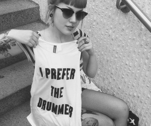 girl, tattoo, and drummer image