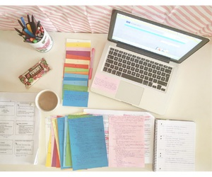 macbook, notes, and pink image