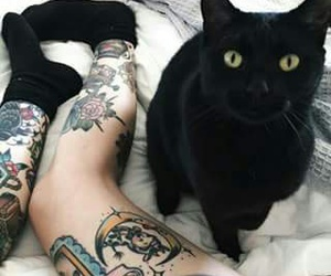 cat, tattoo, and black image