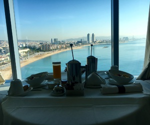 Barcelona, beach, and breakfast image