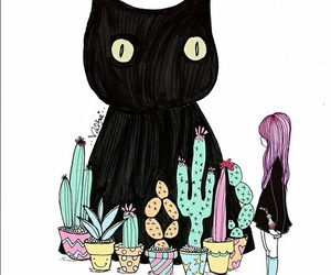 cat, cactus, and girl image