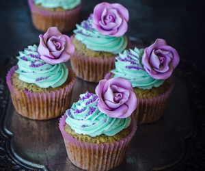 buttercream, food, and cupcakes image