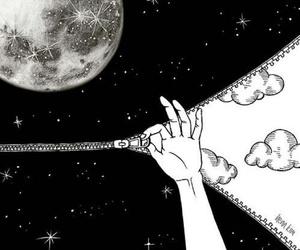 moon, stars, and art image