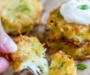 cheesy, pancake, and potato image