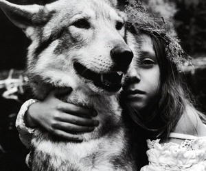 black and white, dog, and girl image