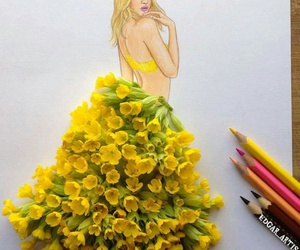art, flowers, and dress image