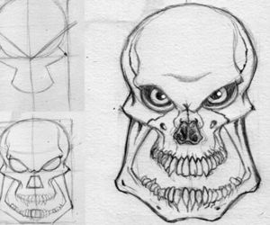skull, how to draw, and drawing tutorial image