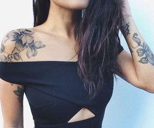 tattoo, black, and flowers image