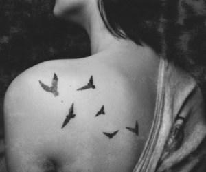 bird, tattoo, and girl image
