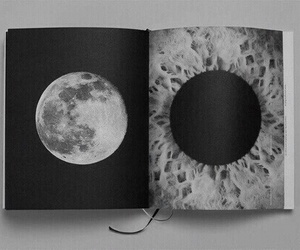 moon, book, and art image