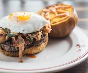food, burger, and egg image