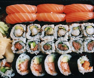 food, sushi, and salmon image