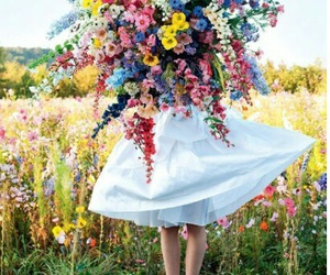 flowers, dress, and bouquet image