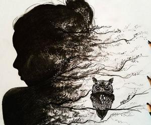 art, owl, and girl image
