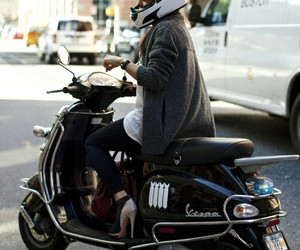 fashion, girl, and moped image