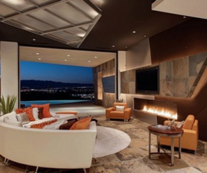 california, design, and fireplace image
