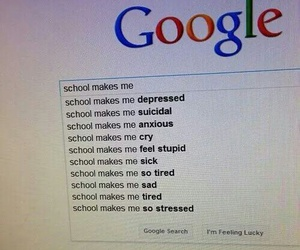school, google, and depressed image