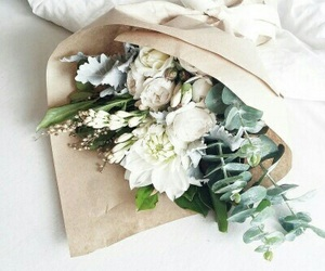 flowers, white, and green image
