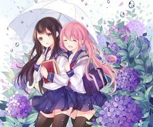 anime, pixiv, and boys girls and umbrellas image