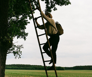 girl, ladder, and nature image