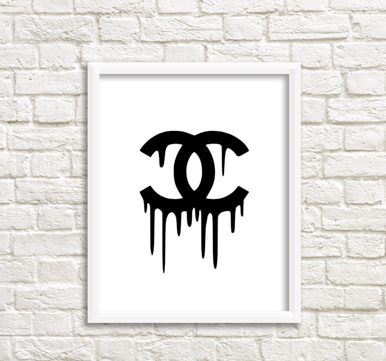 photograph regarding Printable Chanel Logo referred to as Chanel Dripping Chanel wall artwork canvas wall artwork printable