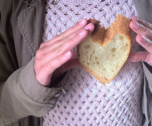bread, girl, and heart image