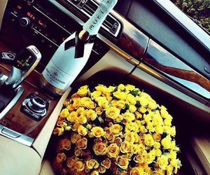 flowers, car, and champagne image