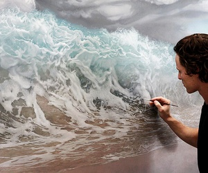 art, waves, and sea image