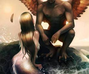 mermaid, angel, and fantasy image