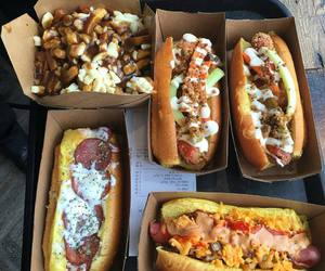 food, fries, and hot dog image