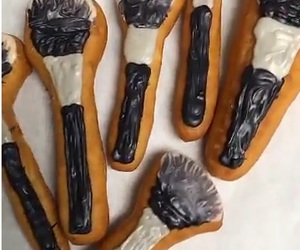 Brushes, doughnuts, and food image