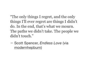 quote, regrets, and love image