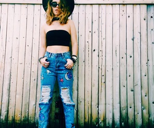 boyfriend jeans, choker, and clothes image