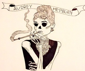 audrey hepburn, drawing, and grunge image