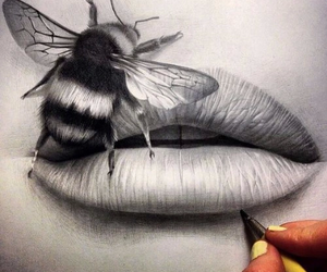 drawing, art, and lips image