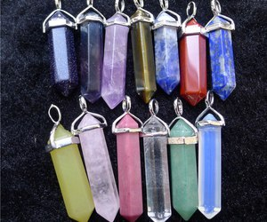 gems, pendants, and pink image