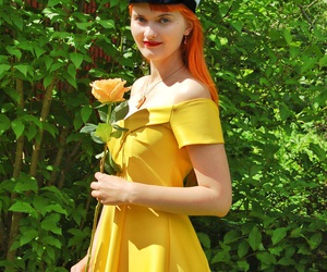 dress, redhead, and flower image