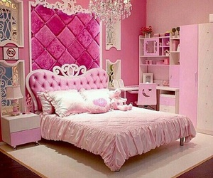 bed, room, and pink image