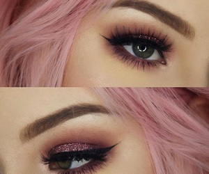 makeup, beauty, and pink hair image