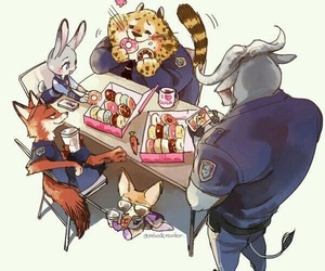 zootopia, disney, and donuts image
